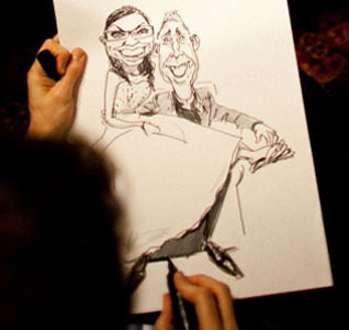 Examples of caricature drawings from a live caricaturist; book a caricaturist for your wedding