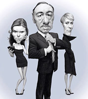 House of Cards advertising campaign by caricaturist Jonathan Cusick- caricatures for ads