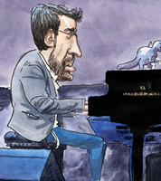 sketchbook drawing of jazz pianist Neil Cowley