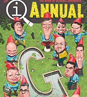 caricature for book cover, QI Annual by jonathan cusick, professional caricaturist