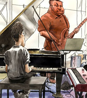 sketchbook drawing by jazz illustrator of pianist Reuben James