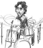 sketchbook drawing of jazz drummer