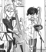 sketchbook drawing of jazz concert by cartoonist