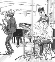 sketchbook drawing of jazz quartet by caricaturist jonathan cusick