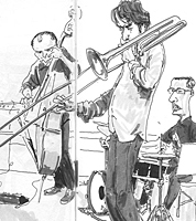 reportage drawing by illustrator of jazz trombonist quartet
